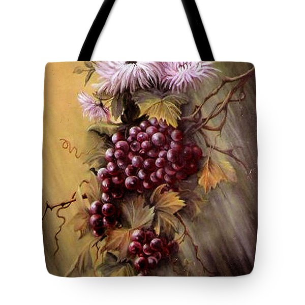 Red Grapes And Flowers Tote Bag