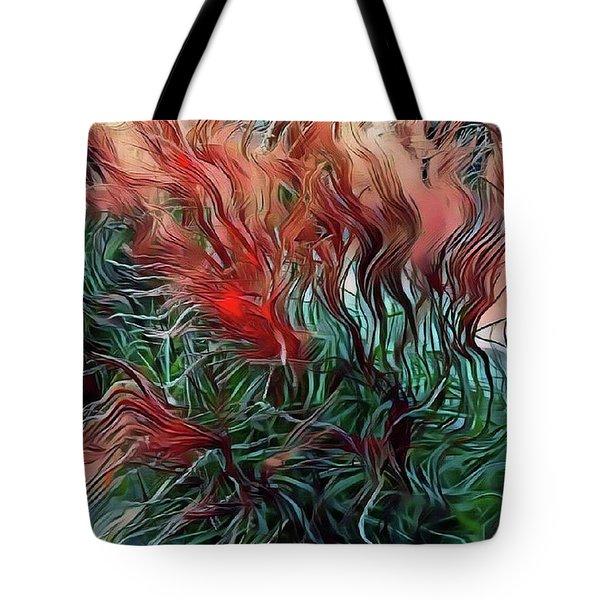 Red Grasses Tote Bag