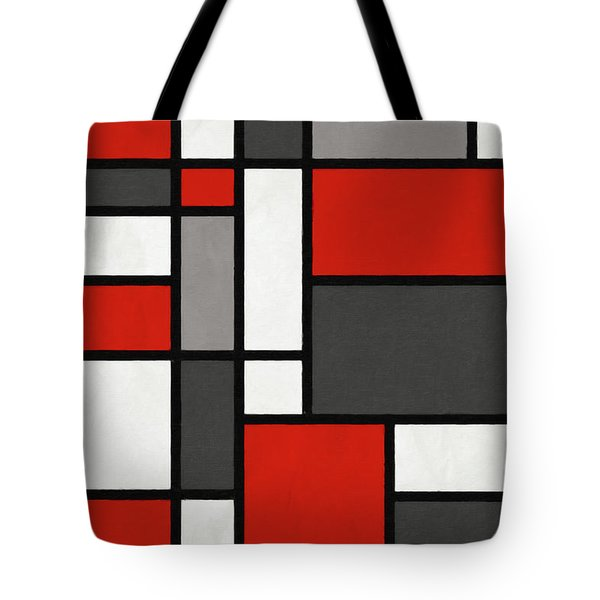 Red Grey Black Mondrian Inspired Tote Bag