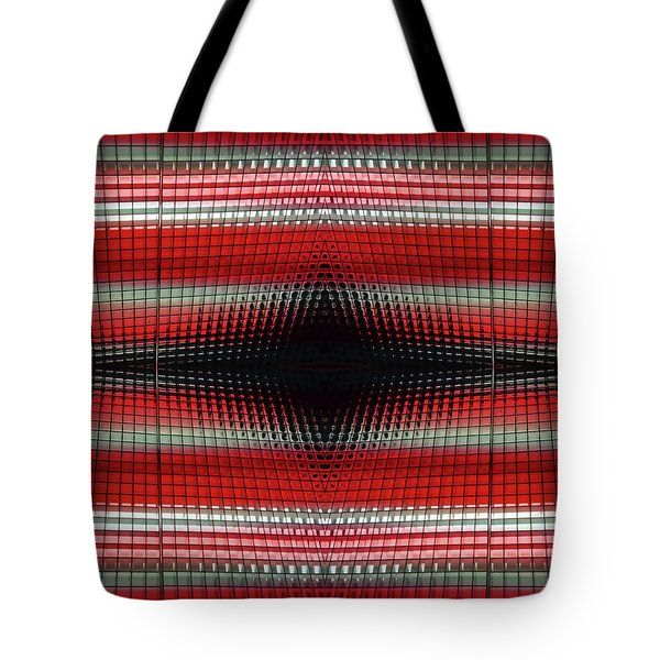 Red Grid Abstract Tote Bag
