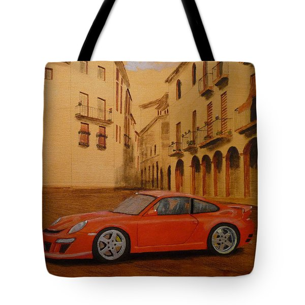 Tote Bag featuring the painting Red Gt3 Porsche by Richard Le Page