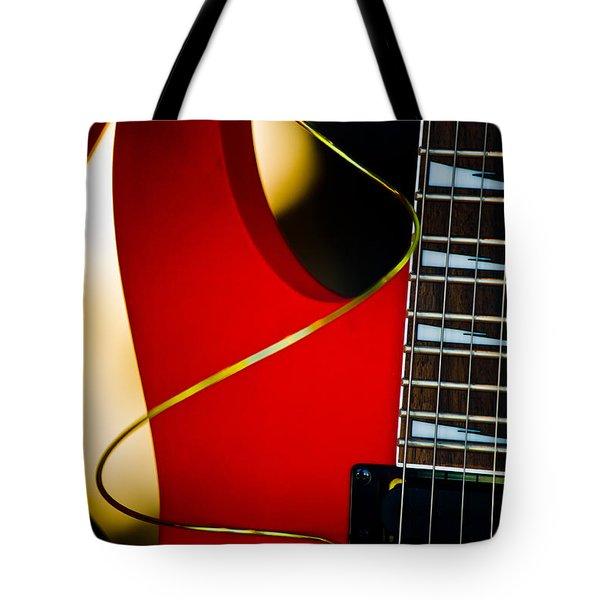 Red Guitar Tote Bag by Hakon Soreide