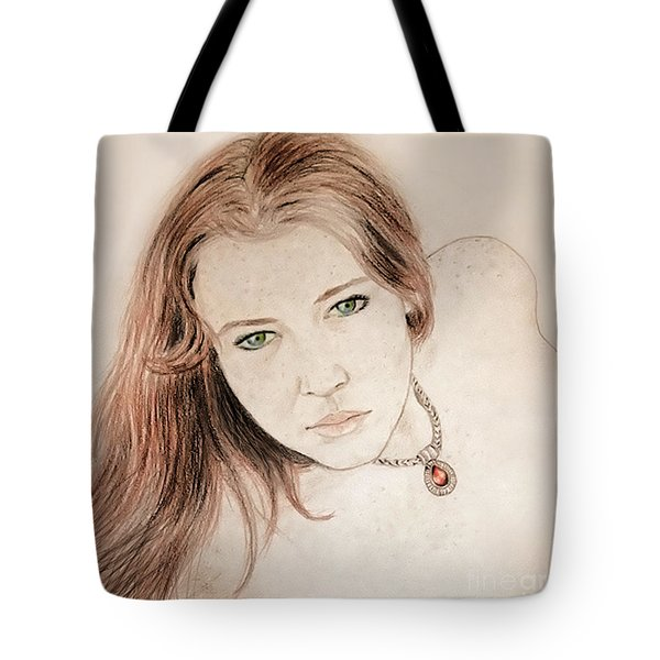 Tote Bag featuring the drawing Red Hair And Freckled Beauty by Jim Fitzpatrick