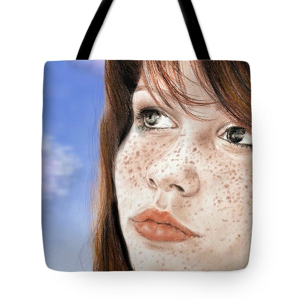 Red Hair And Freckled Beauty Version II Tote Bag