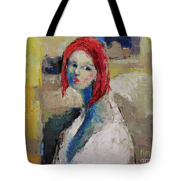 Red Haired Girl Tote Bag by Becky Kim
