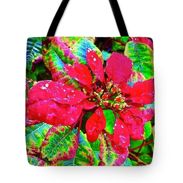 Red Hawaiian Poinsettia Tote Bag