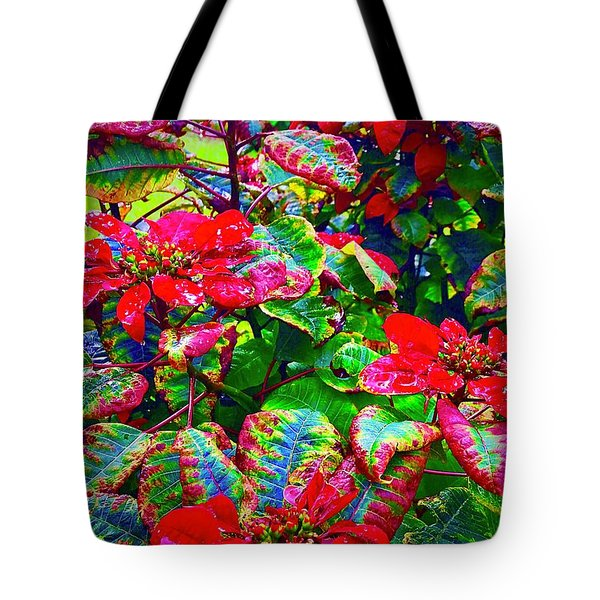 Red Hawaiian Poinsettias In Puna Tote Bag
