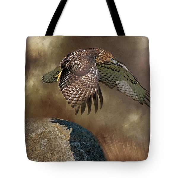 Tote Bag featuring the photograph Red Hawk Down by Donna Kennedy