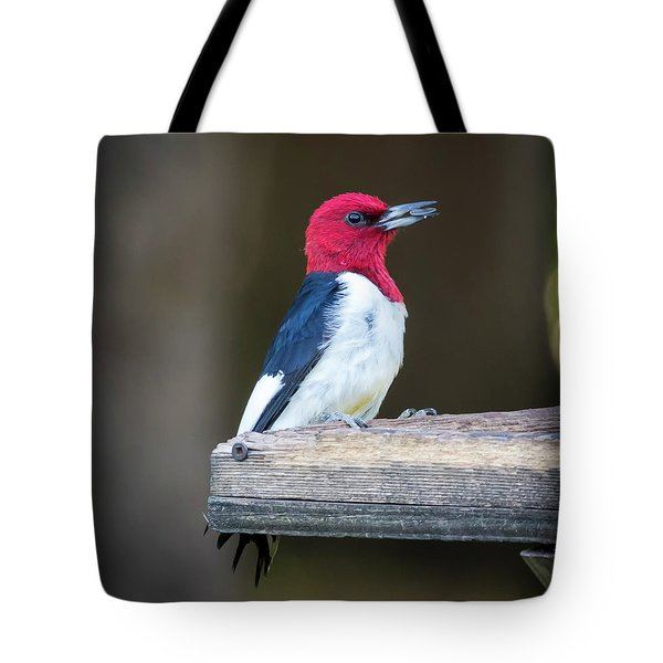 Tote Bag featuring the photograph Red-headed Woodpecker With Seed  by Ricky L Jones