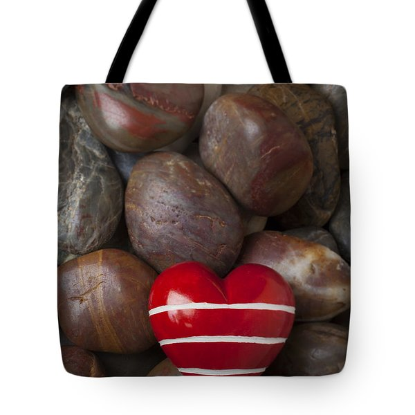Red Heart Among Stones Tote Bag by Garry Gay