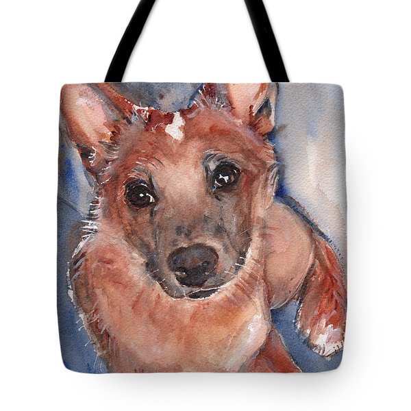Red Heeler Pup Tote Bag by Maria's Watercolor