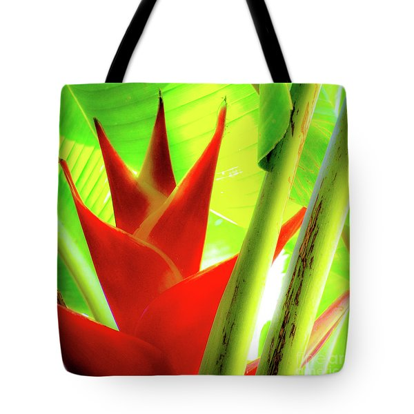 Red Heliconia Plant Tote Bag