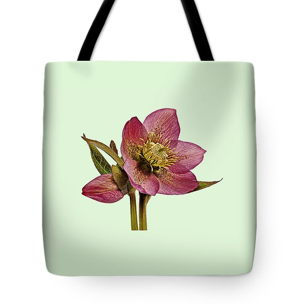 Red Hellebore Green Background Tote Bag