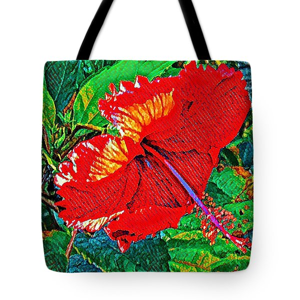 Red Hibiscus Aslant Tote Bag