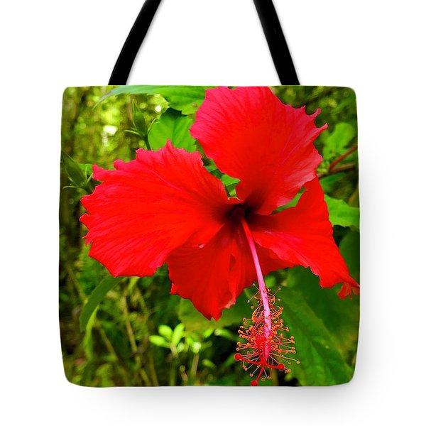 Red Hibiscus In Puna Tote Bag