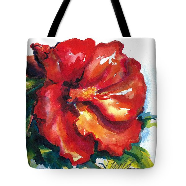 Fireball Red Hibiscus Tote Bag
