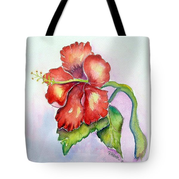 Tote Bag featuring the painting Red Hibiscus by Patricia Piffath