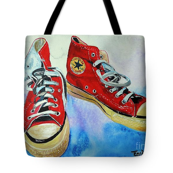 Red High Tops Tote Bag