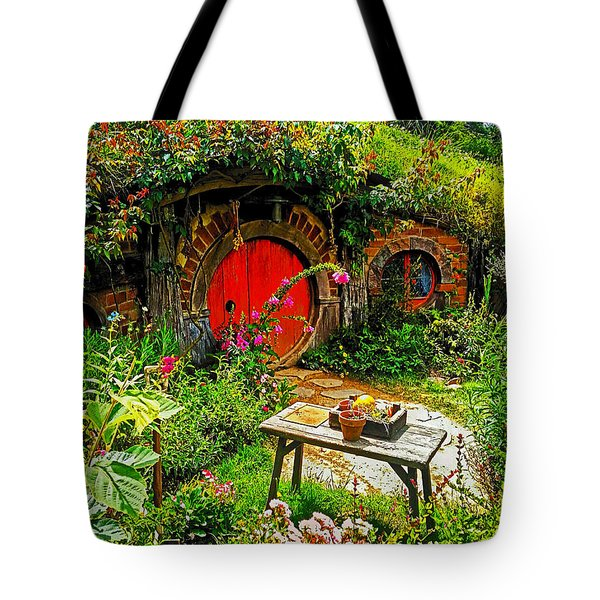 Red Hobbit Door Tote Bag