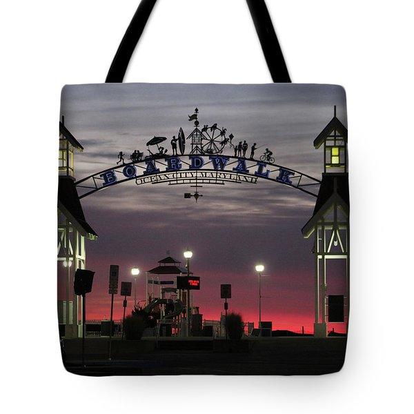 Red Horizon Thru The Boardwalk Arch Tote Bag