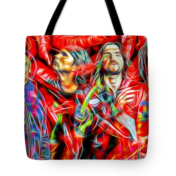 Red Hot Chili Peppers In Color II  Tote Bag by Daniel Janda