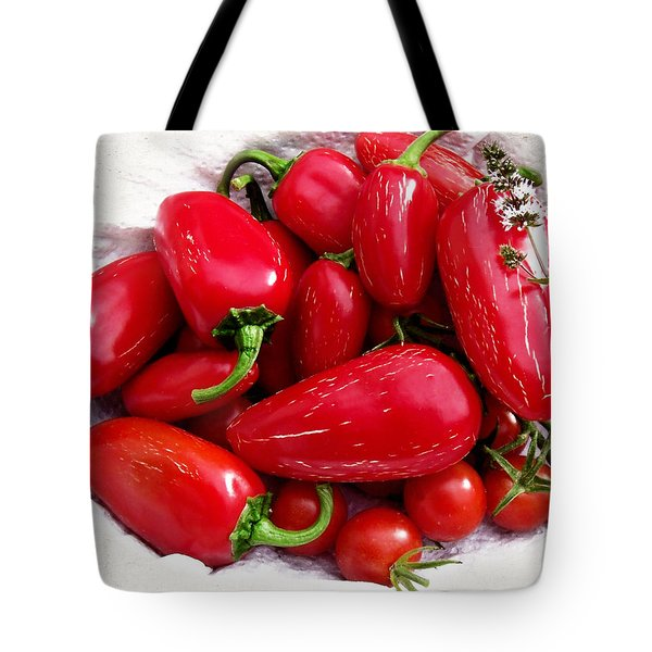 Tote Bag featuring the photograph Red Hot Jalapeno Peppers by Shawna Rowe