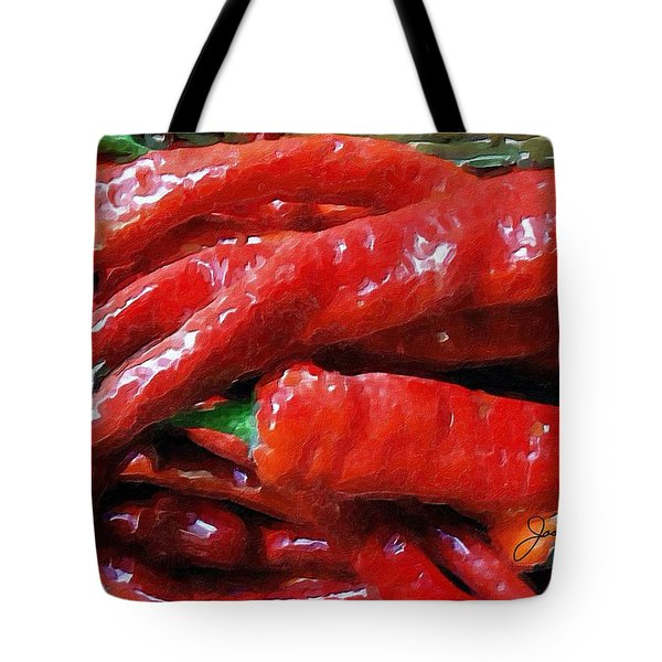 Tote Bag featuring the painting Red Hot Peppers  by Joan Reese