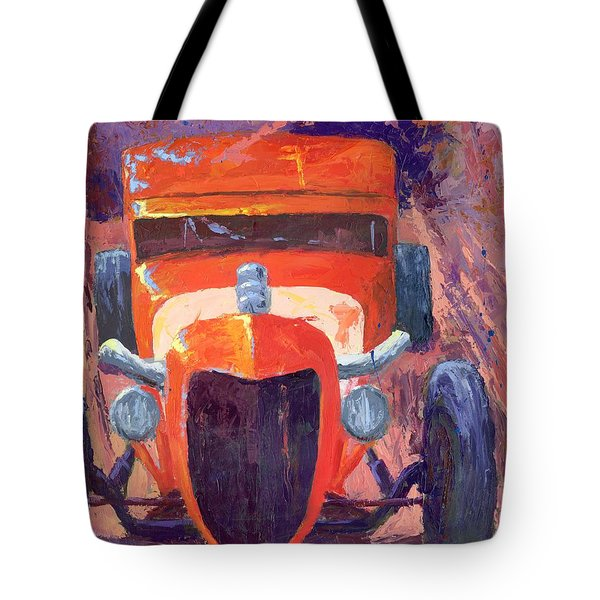 Red Hot Rod Sedan Tote Bag