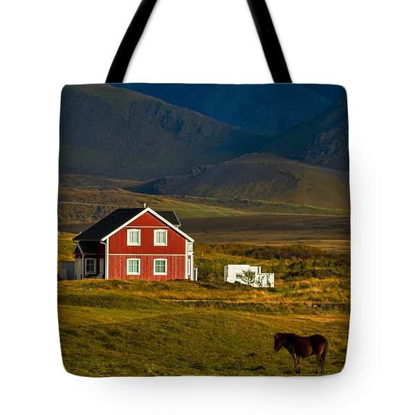 Red House And Horses - Iceland Tote Bag