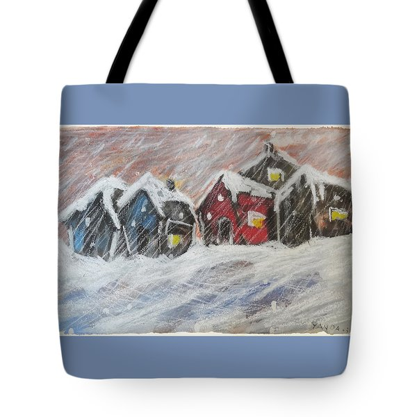 Red House In The Snow Tote Bag