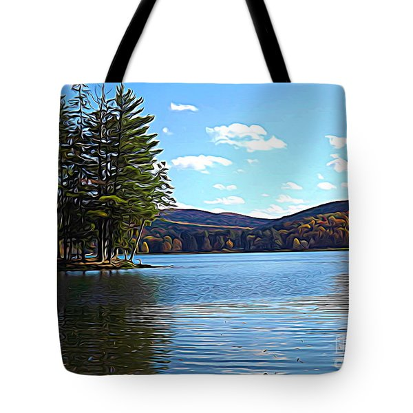 Red House Lake Allegany State Park In Autumn Expressionistic Effect Tote Bag