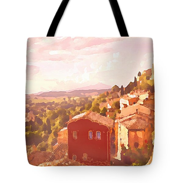 Red House On A Hill Tote Bag