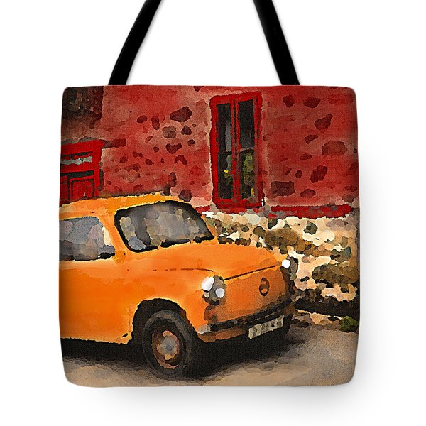 Red House With Orange Car Tote Bag