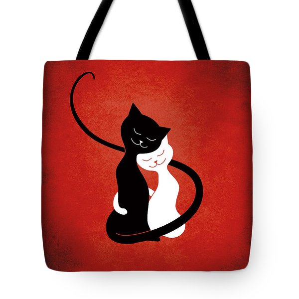 Red Hugging Love Cats Tote Bag