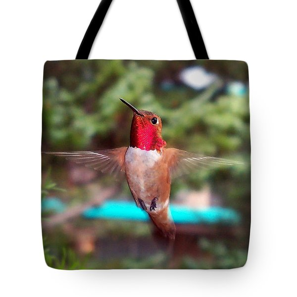Tote Bag featuring the photograph Red Hummingbird by Joseph Frank Baraba