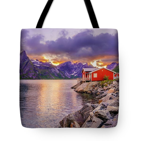 Tote Bag featuring the photograph Red Hut In A Midnight Sun by Dmytro Korol
