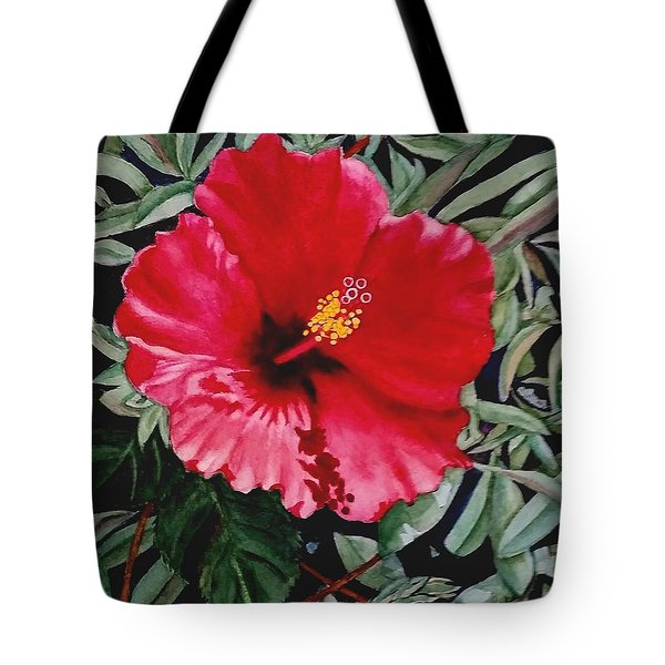 Red Hybiscus Tote Bag