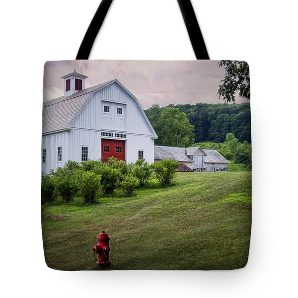Tote Bag featuring the photograph Red Hydrant by Tom Singleton