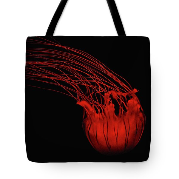 Red Jellyfish Tote Bag by Denise Keegan Frawley