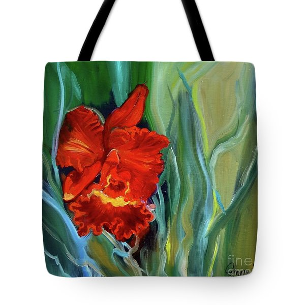 Red Jungle Orchid Tote Bag