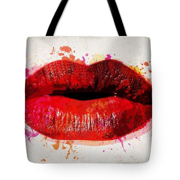 Red Kiss Watercolor Tote Bag