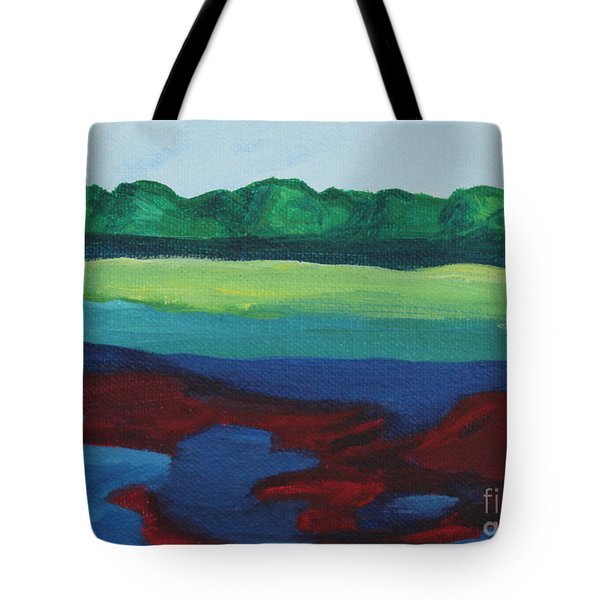 Red Lake Tote Bag by Annette M Stevenson