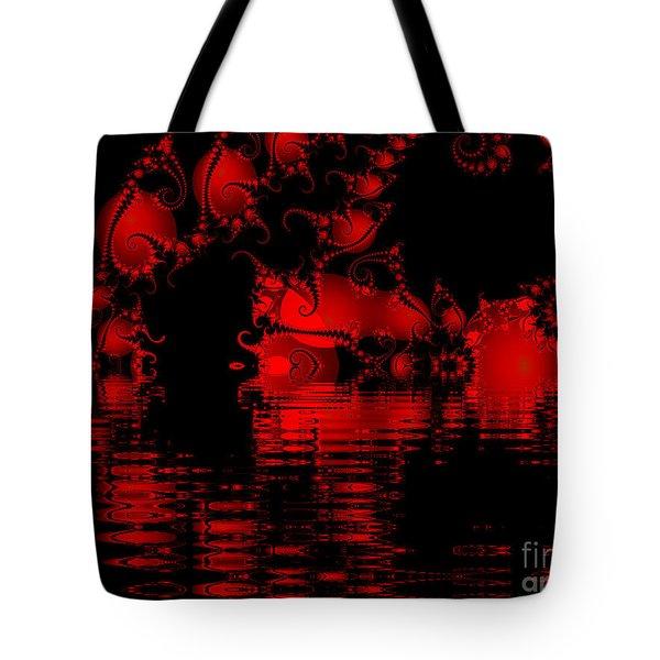 Red Lake Cave Fractal Tote Bag