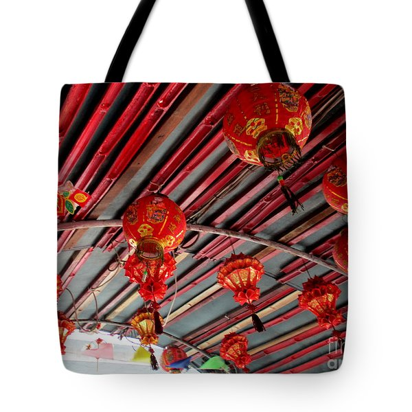 Tote Bag featuring the photograph Red Lanterns 1 by Randall Weidner