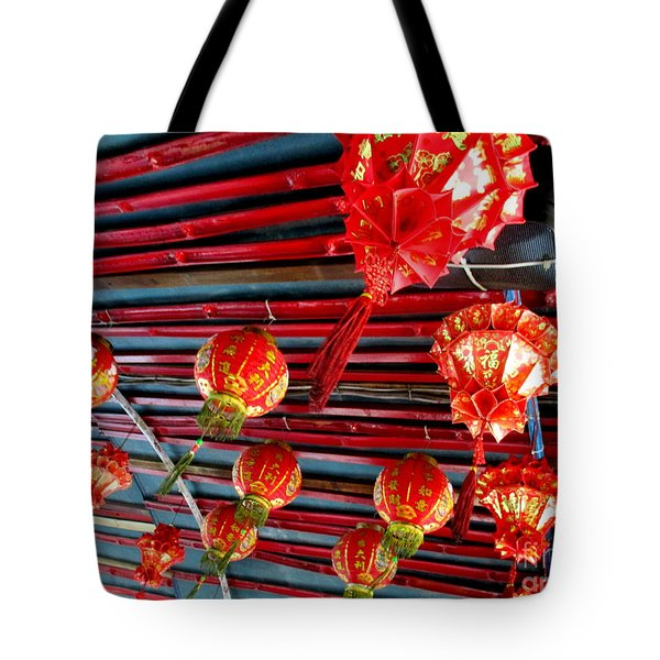 Tote Bag featuring the photograph Red Lanterns 3 by Randall Weidner