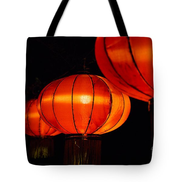 Red Lanterns Tote Bag by Rebecca Davis