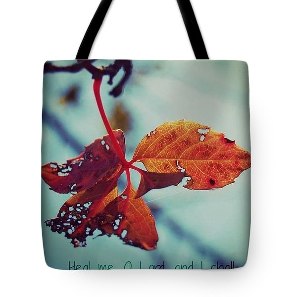 Tote Bag featuring the photograph Red Leaf by Artists With Autism Inc