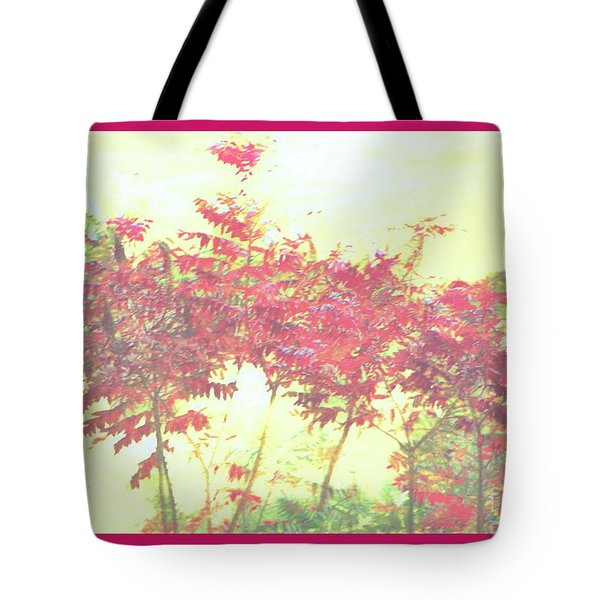 Red Leafs Tote Bag by Shirley Moravec