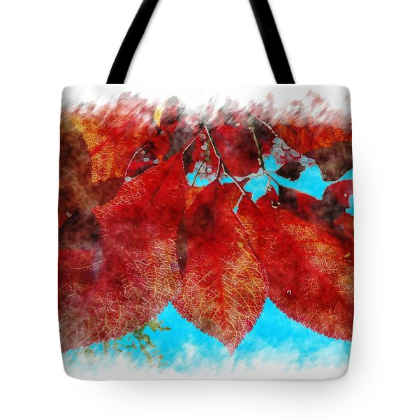 Tote Bag featuring the photograph Red Leaves by Jean Bernard Roussilhe