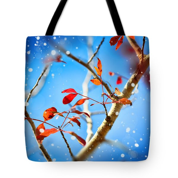 Red Leaves On Blue Background Tote Bag